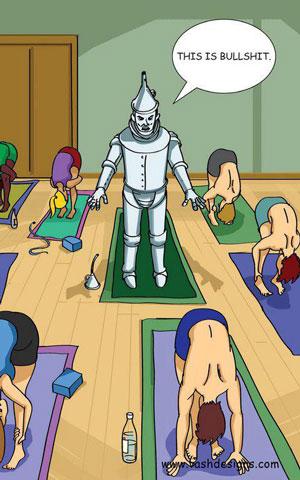 Tin man Doing Yoga