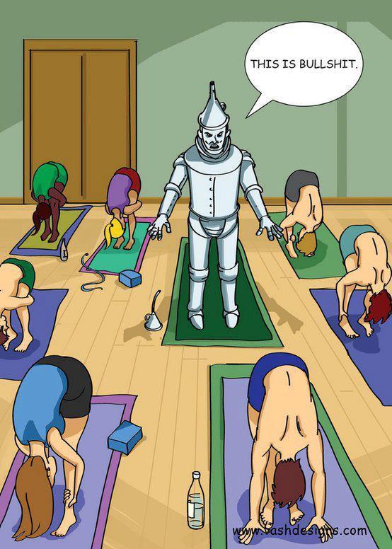 Hilarious Cartoons showing Tin man doing yoga