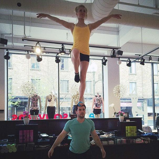 Circus Artist Couple at a shop