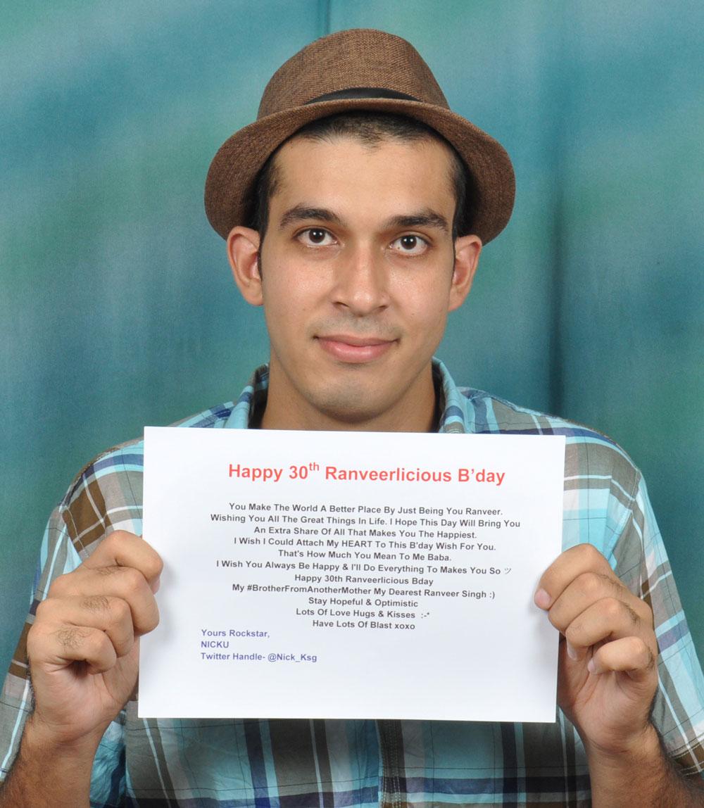 Sumit Singh Siwach wishing ranveer singh