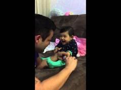 Cute baby prank her dad