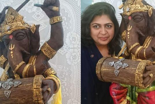 Rintu Kalyani Rathod made 35 Kg Chocolate Ganesha Idol