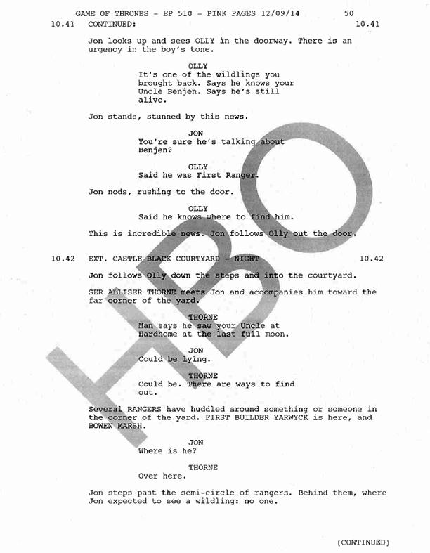 Jon Snow death scene script