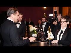 Leonardo DiCaprio getting his Oscar award engraved