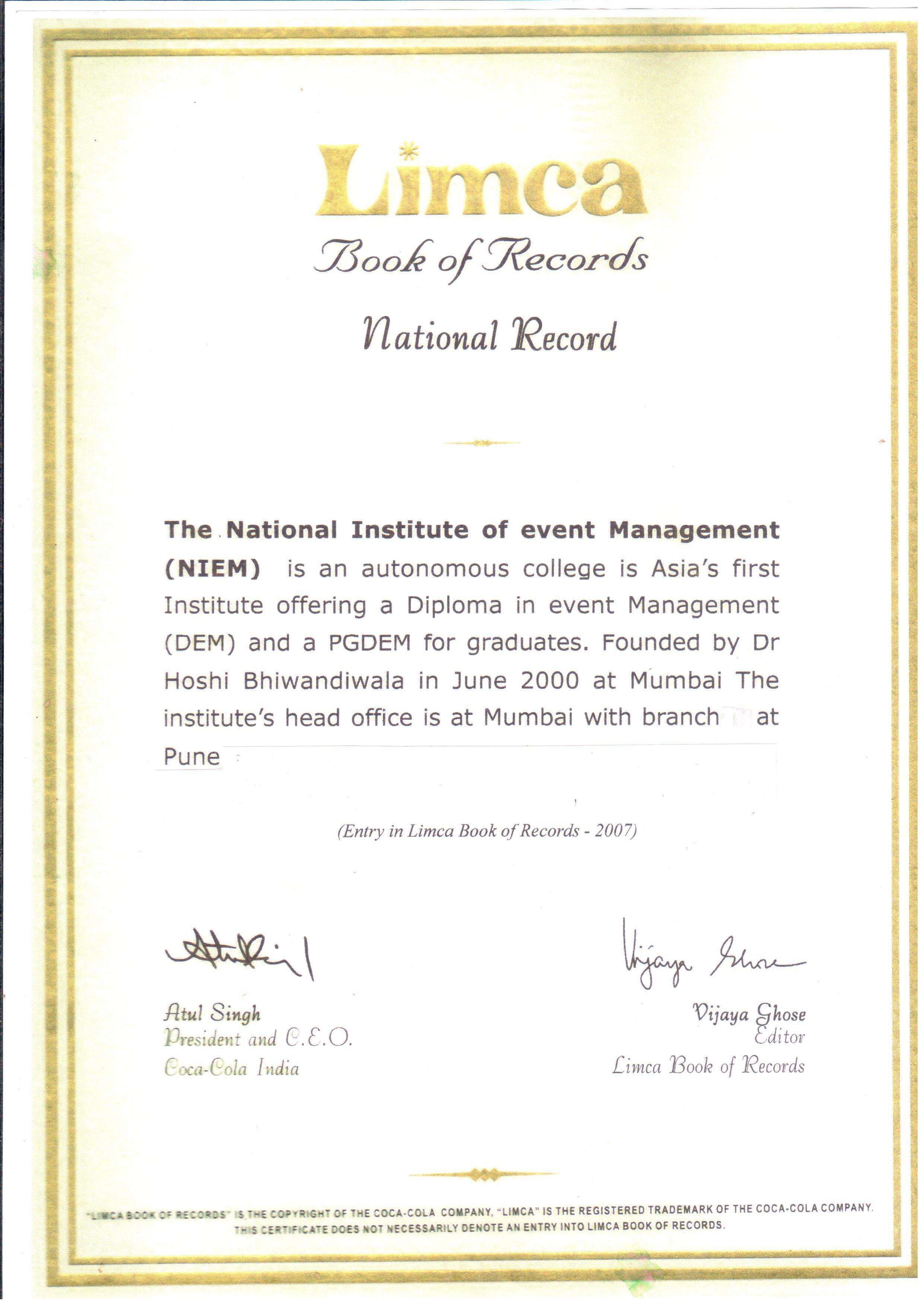 limca certificate1