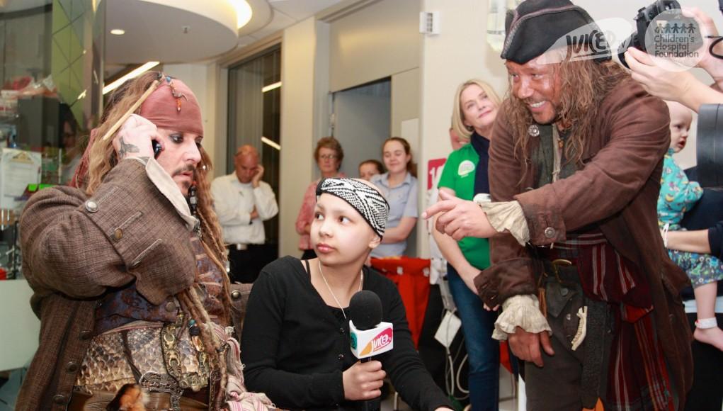 Captain Jack Sparrow visits children