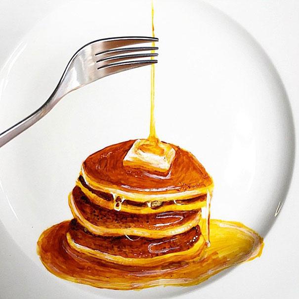 Breakfast Pancakes artwork on plates