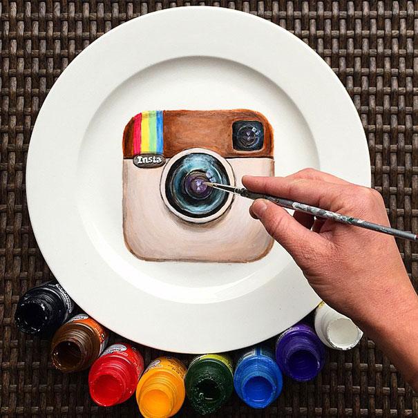 Instagram artwork on plate
