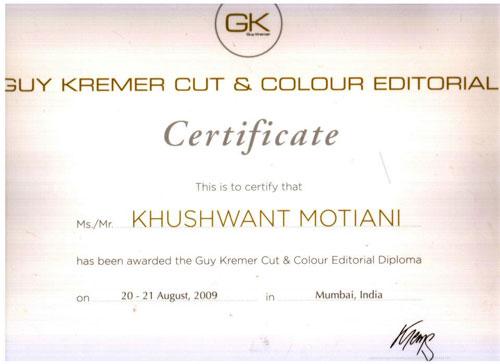 Sunny Motiani certificate
