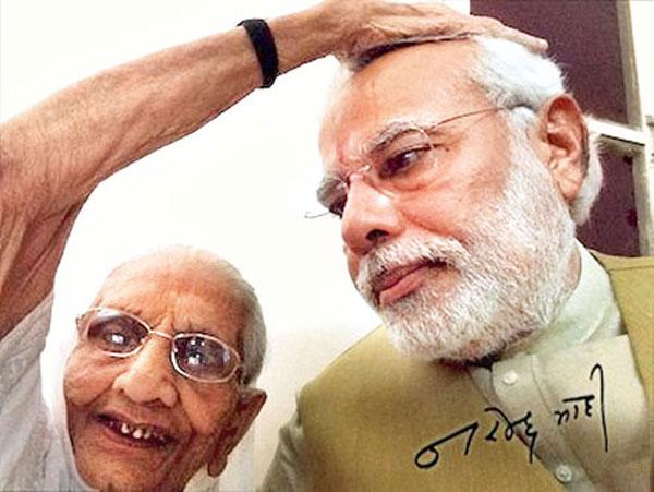 Heeraben Modi and son in a selfie