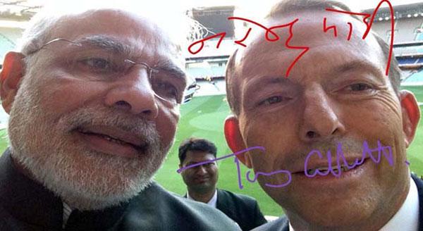 Narendra Modi selfie with Tony Abbot