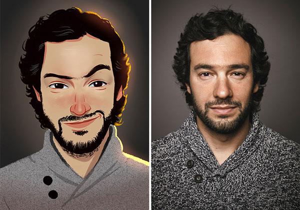 Julio Cesar creates funny people illustrations