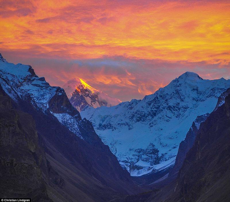 Sunset at the Karakoram Mountains