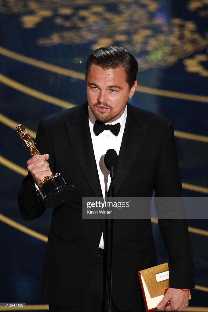 Leonardo DiCaprio wins his first Oscar award for The Revenant